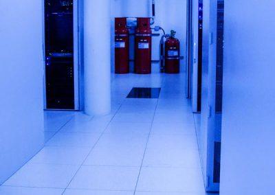 server rack with fire suppression bottles
